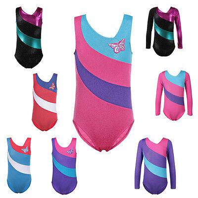 Girls Ballet Dance Tank Top Gymnastic Leotards Shiny Skating Latin Dancewear
