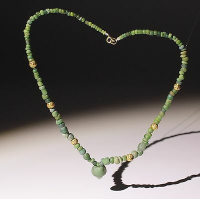 Beautiful Ancient Roman Glass & Gold Bead Necklace - Circa 2Nd Century Ad • CAD $411.08