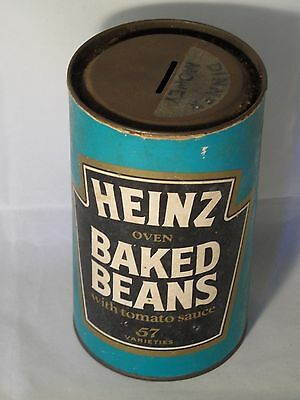 Very Rare? Vintage Heinz Tin Shape Advertising Dinner Money Box With Tin Ends