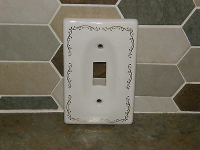 Vintage Retro MCM White Ceramic Switch Plate Outlet Cover Gold Scroll Accents