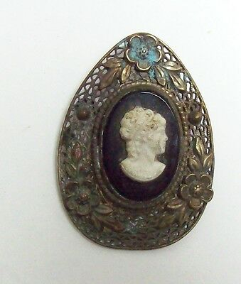Vintage Czechoslovakia Filigree Teardrop Shaped CAMEO Mourning Pin Brooch