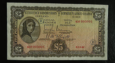 1942 Ireland Currency Commission 5 Pound Lady Lavery WAR CODE D Banknote Pick#3c
