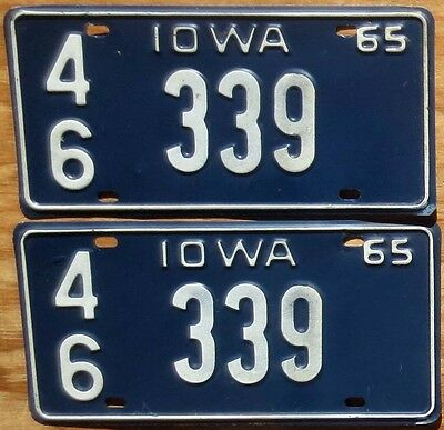 1965 Iowa License Plate Number Tag PAIR Plates