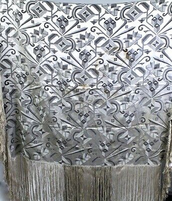 Antique Arts & Crafts 1920s Metallic Fringed Shawl Cover STUNNING! Gold Silver