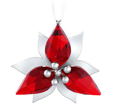 Swarovski Crystal Christmas Ornament POINSETTIA Silver Tone #5064278 New