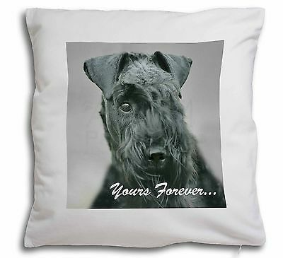 Kerry Blue Terrier 'Yours Forever' Soft Velvet Feel Scatter Cushion, AD-KB1y-CPW