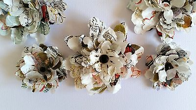 10 x Handmade Ruffled Vintage Blossoms - 3 Sizes - Scrapbooking, Cards etc