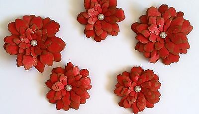 9 x Handmade Vintage Red Blossoms - 3 Sizes - Scrapbooking, Cards etc