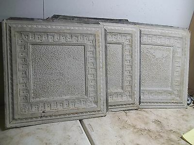 "Lot of 10 Old Shabby White Embossed Tin Ceiling Tile 25"" picture frame style"