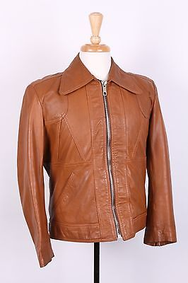 Vintage 70S Leather Motorcycle Bomber Coat Jacket Mens Large
