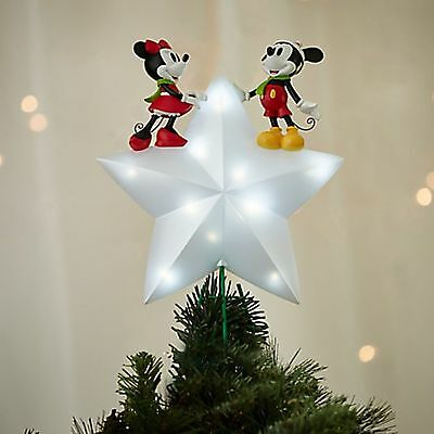 Disney Store MICKEY and MINNIE mouse Lights Up Christmas Tree Star Topper 2016
