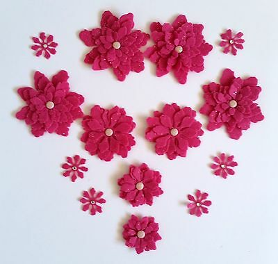 14 x Handmade Pink Felt Flowers Perfect for Scrapbooking, Cards, Papercrafts