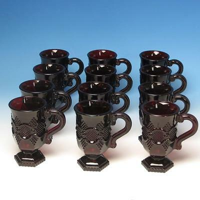 Avon Glass Cape Cod Collection Ruby Red - 12 Footed Handled Coffee Mugs  - 6 OZ