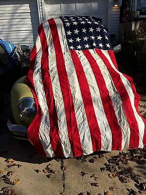 WWII 48 Star Flag WW2 War Large  Wool Ensign USA Good Cond
