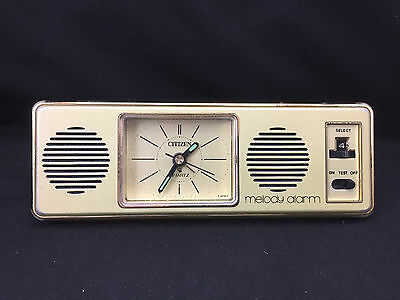 Vintage Citizen Travel Melody Alarm Clock Made In Japan Battery Operated