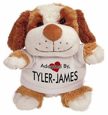 Adopted By TYLER-JAMES Cuddly Dog Teddy Bear Wearing a Printed , TYLER-JAMES-TB2