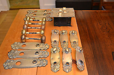 Brass Door Knobs & Backplates  And Lock Sets Large Lot