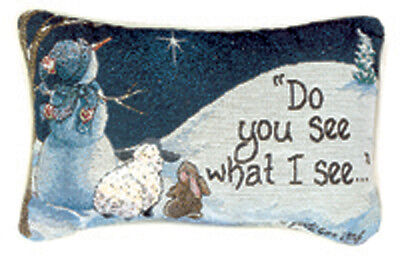 Do You See What I See ~ Snowman Rabbit & Lamb Tapestry Word Pillow