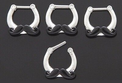1x 316L Steel Black Mustache Nose Ring Septum Clicker 14g Piercing Body Jewelry