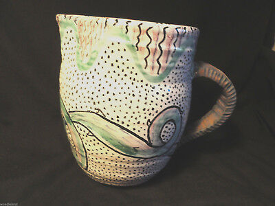 Handthrown Pottery Pitcher Modernistic Signed 1991
