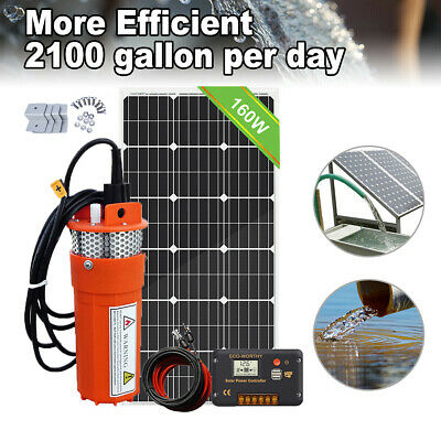 Solar Water Pump Kit:160W Poly Solar Panel + 12V Submersible Deep Well Pump AU