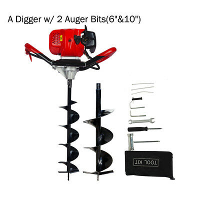 "2.2HP Earth Auger Driller Gas Powered Soil Digger 6""+ 10"" Drill Bits Digging Set"
