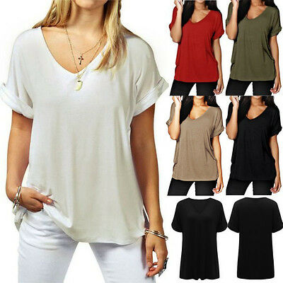 Plus Size 8-26 Womens Chiffon Short Sleeve Casual T Shirt Blouse Top Solid Tee