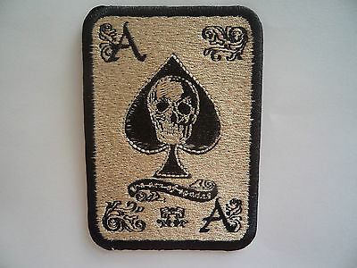 Ace Of Spades Biker Skull Patch Sew On - Iron On Embroidered