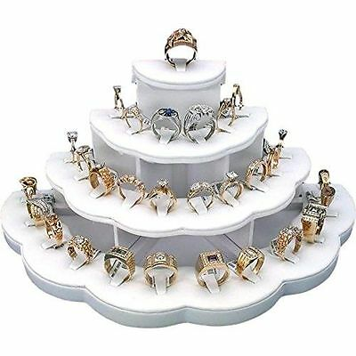 NEW White Ring Display Holds 29 Rings Jewelry Stand Free Shipping