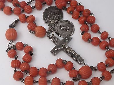 Rare Antique French Sterling Silver & Carved Coral Beads Rosary Reliquary Cross