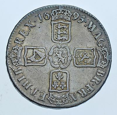 1695 CROWN, SEPTIMO, BRITISH SILVER COIN FROM FROM WILLIAM III aVF