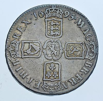 1695 CROWN, SEPTIMO, BRITISH SILVER COIN FROM WILLIAM III aVF