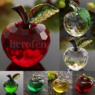 3D Crystal Apple Shape Paperweights Cut Glass Wedding Home Table Decor Gifts AU