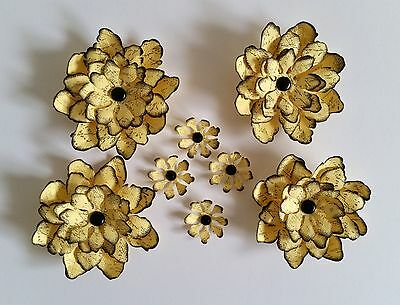 8 x Handmade Lemon Script Paper Flowers Perfect for Scrapbooking, Cards