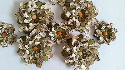 8 x 3D Handmade Vintage Green Paper Flowers Perfect for Scrapbooking, Cards