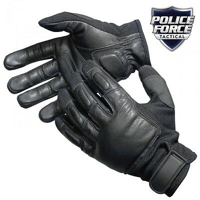 Police Force Leather Tactical SAP Gloves Reinforced Steel Weighted Knuckle, wbw