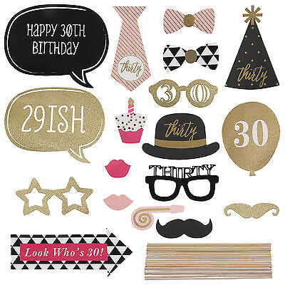 20pc 30th Birthday Party Photo Booth Props Mask Moustache Photography DIY Sticks
