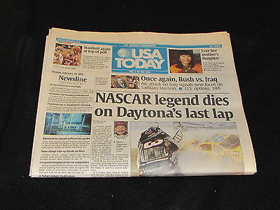 USA Today February 19 2001 Dale Earnhardt Death at Daytona Full Newspaper