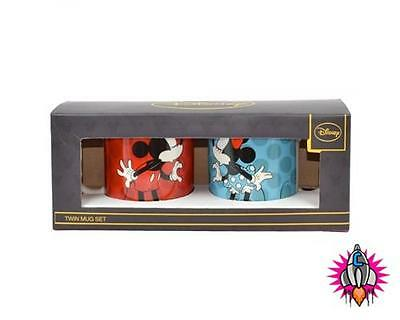 Minnie & Mickey Mouse Disney Twin Mug Coffee Cup Set New In Gift Box