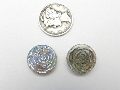 1 Rare Vintage Japanese Silver Blue Iris Rose Ab 16Mm Cabochon