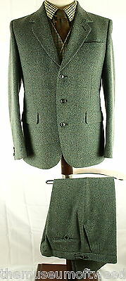 "Mens Vtg Thornproof Border Twist Tweed Jacket Trousers Sz 40"" Slim 36/38 X 31"