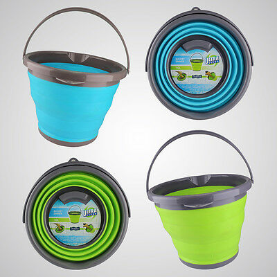 Large 10L Silicone Collapsible Water Bucket Folding Home Camping Cleaning