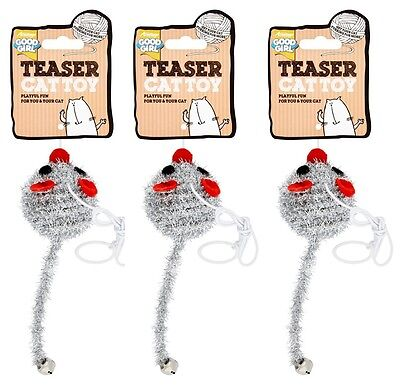 3x good girl cat dangley cat kitten toy dangling elastic teaser string Fun Mouse