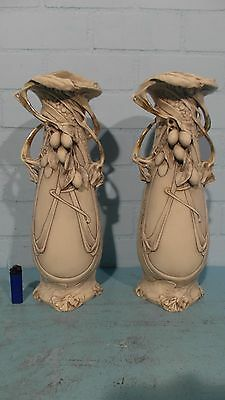 Great Huge Pair Of Royal Dux Art Nouveau Vases