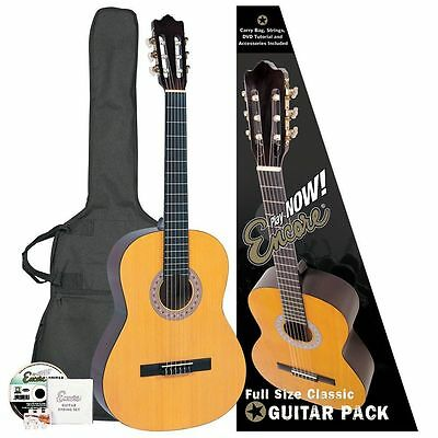 Encore ENC44OFT Natural Wood Full Size Classic Guitar Outfit