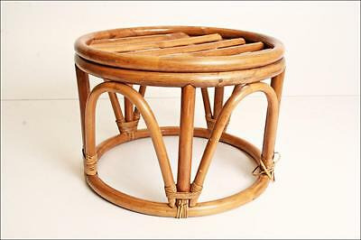Vintage BAMBOO ROUND TABLE rattan mid century bentwood stool plant stand ottoman