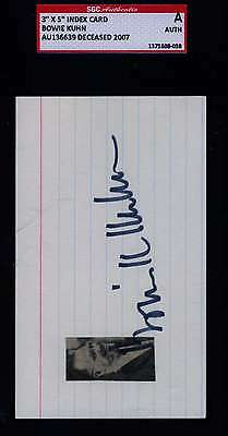 Bowie Kuhn Sgc Signed 3X5 Index Card  Authenticated Autograph