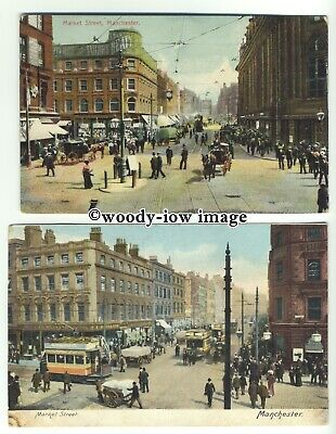 tp9668 - Lancs - Two Cards, Both of Market Street. in Manchester - Postcard