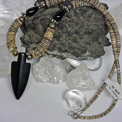 native authentic Navajo Heishi Spiny Oyster Kette Arrow ONYX L:52cm 925 Silber