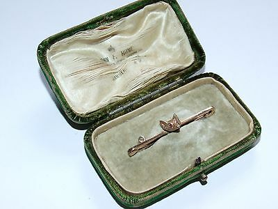 Wonderful c1910 Solid 9ct Gold Fox Head Brooch, Excellent Boxed Example
